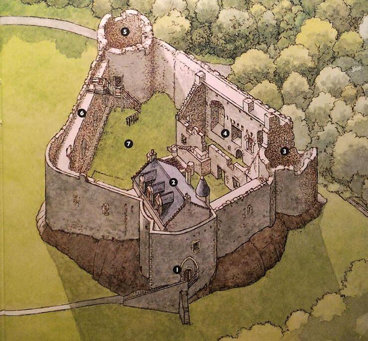 mappa del castello di dunstaffnage