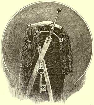 Incisione di una claymore e di un'armatura del clan MacLeod [Lancelot Speed, 1890 ca.]