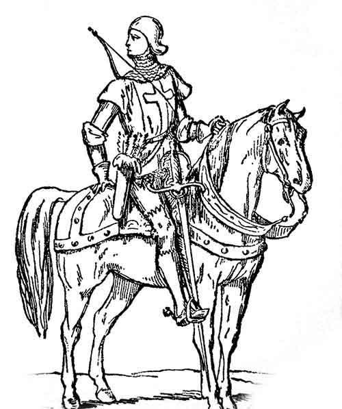 Gigantesca striscia sospesa all'arcione di un arciere a cavallo del XV secolo [de Chesnel da Guillemin]