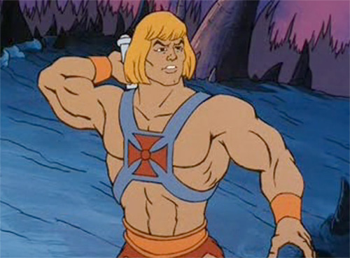 He-Man ha tanti muscoli e un biondo caschetto