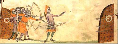 Addestramento di arcieri gallesi. [Luttrell Psalter, 1325 ca.]