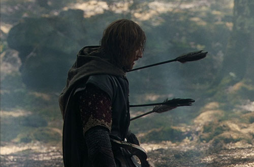 Boromir took an arrow in the knee