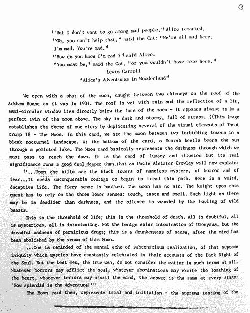 La prima pagina della sceneggiatura di Morrison.