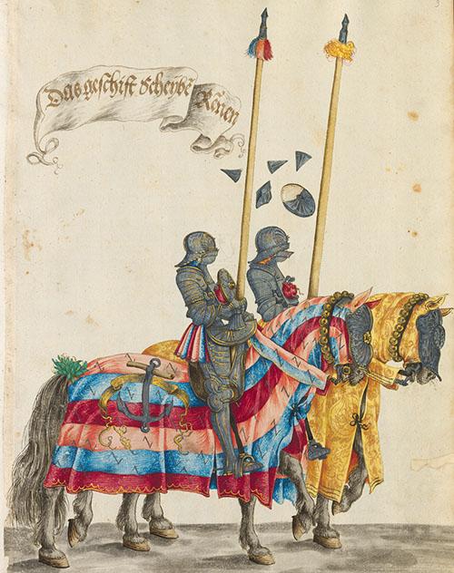 Incisione che mostra il funzionamento della corazza meccanica. [Hans Burgkmair 1540 ca. ]