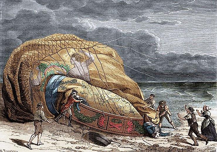primo incidente aereo della storia in mongolfiera
