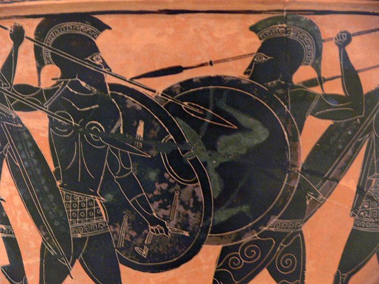guerriero nano come un olpita greco